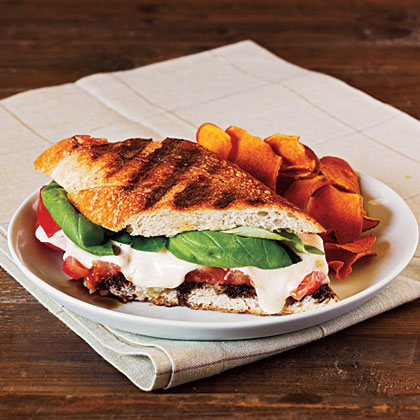 Summer Tomato, Mozzarella, and Basil Panini with Balsamic Syrup