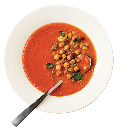 Tomato Soup with Roasted Chickpeas
