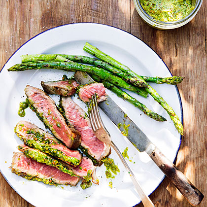 Rib-Eye Steaks with Pistachio Butter and AsparagusRecipe