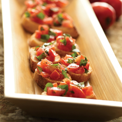 Grilled Tomato and Basil Bruschetta