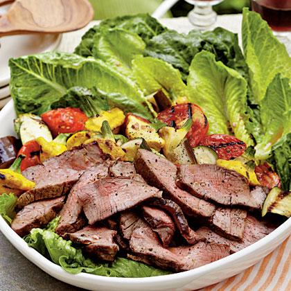 Grilled Steak-and-Ratatouille Salad with Basil-Garlic Vinaigrette