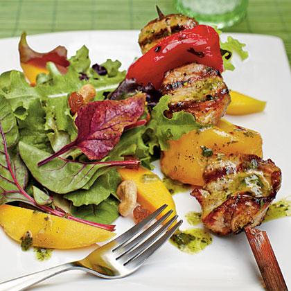 Tropical Salad with Pork Kabobs and Citrus-Chimichurri Vinaigrette