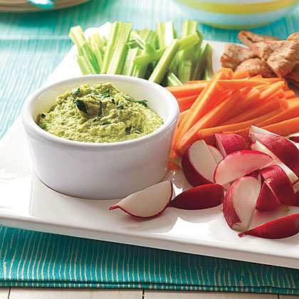 Edamame Hummus with Homemade ChipsRecipe