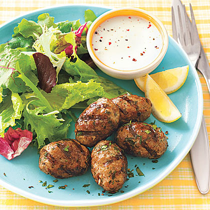 ay-Grilled Spiced Pork Patties with Greens