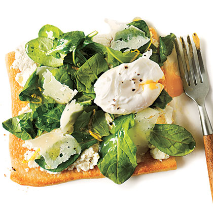 Arugula Pizza with Poached EggsRecipe