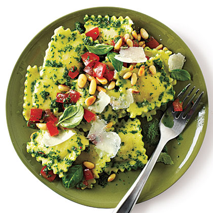 Cheese Ravioli with Pesto RecipeFresh herbs are premium ingredients that can easily break a budget. Stretch the pesto by adding a little fresh baby spinach.