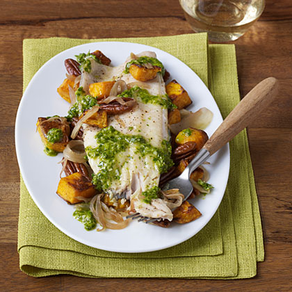 Grilled Trout with Roasted Butternut Squash, Pecans and Celery Leaf Pesto