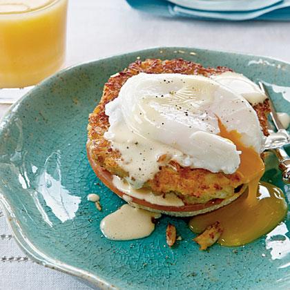 Horseradish Crab Cake Benedict with Simple HollandaiseRecipe