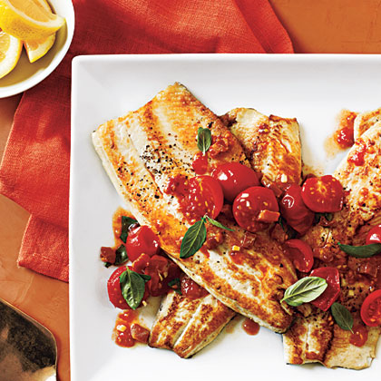 Pan-Fried Trout with Tomato Basil Saute Recipe
