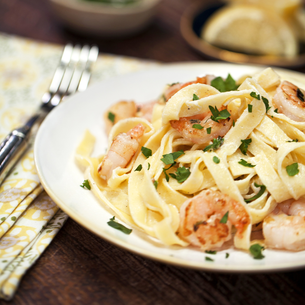 This 5-star Shrimp Fettuccine Alfredo, which calls for quick-cooking refrigerated pasta, is a great go-to dish for hectic weeknights.Shrimp Fettuccine Alfredo