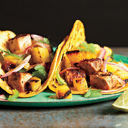 Tacos Al Pastor With Grilled Pineapple Salsa Recipe Myrecipes