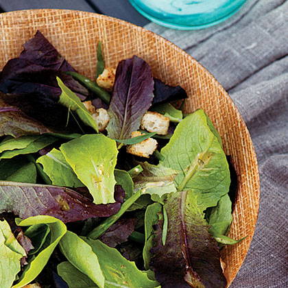 Green Bean Caesar Salad with Baby Romaine Lettuces