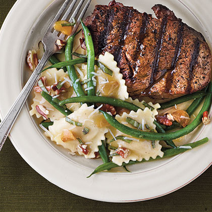 Grilled Fillets with Pecans and Green Bean RavioliRecipe