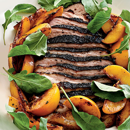 Roasted Pork Belly with Late-Harvest Peaches and Arugula