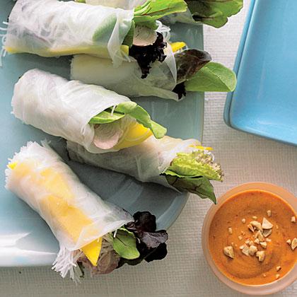Fresh Spring Rolls with Pork, Mango, and Mesclun