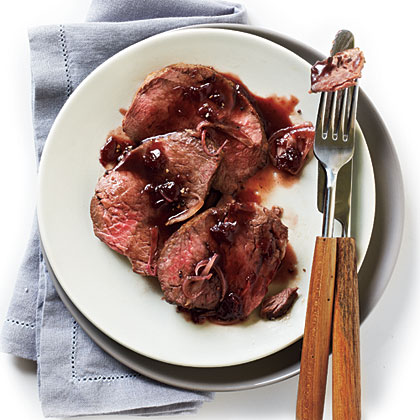 Beef Tenderloin with Cherry-Black Pepper Sauce Recipe