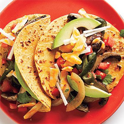 Grilled Portobello and Poblano Tacos with Pico de Gallo