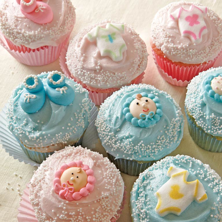 Oh baby cupcakes recipe myrecipes for Cupcake recipes for baby shower girl