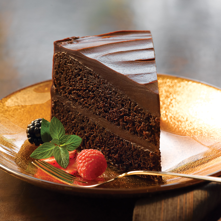 Double Decadence Chocolate Cake with Glossy Chocolate Frosting