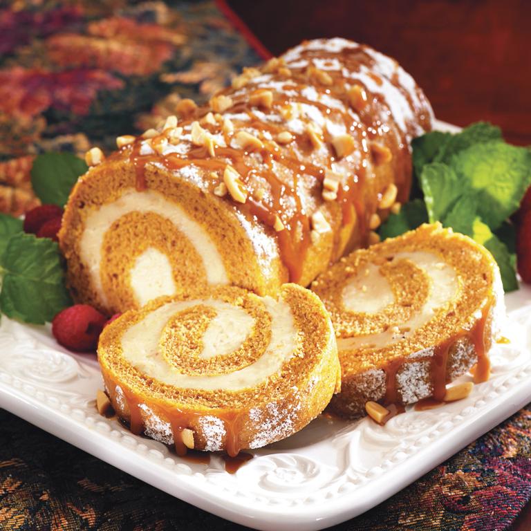 Pumpkin Roll with Crunchy Peanut Butter Cream