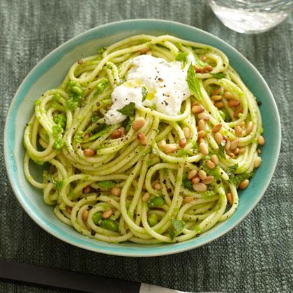 Spaghetti with Ricotta and Pea Pesto