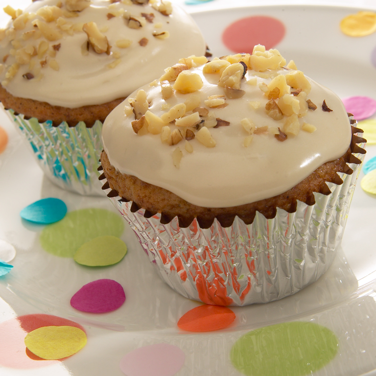 Banana Nut Cupcakes with Maple Frosting