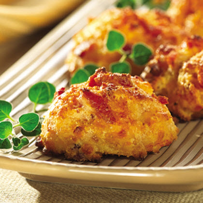 Bacon and Cheese Appetizer Bites RecipeStart your party off with this can't-miss appetizer dish—made with bacon, cheddar cheese and Hungry Jack® Buttermilk Complete Pancake & Waffle Mix, it's the perfect combination of ingredients!