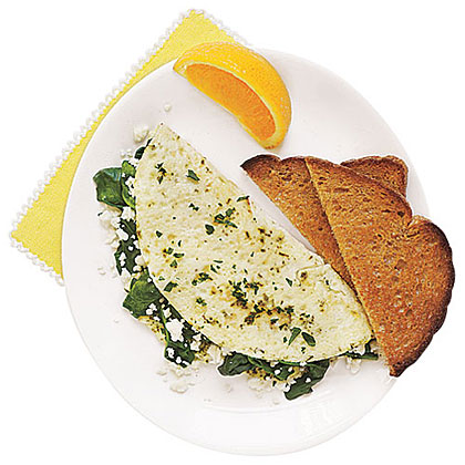 Egg-White Omelet with Spinach, Feta and HerbsRecipe