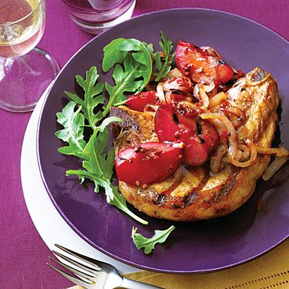 Grilled Pork Chops with Plum Chutney