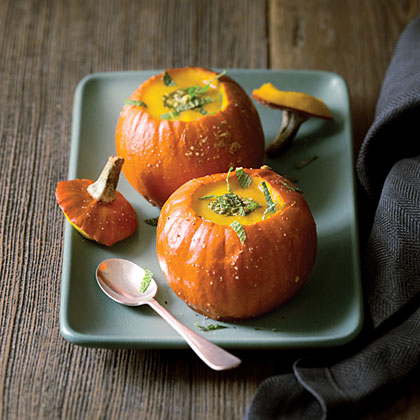 Pumpkin Soup with Pumpkin Seed-Mint Pesto Recipe