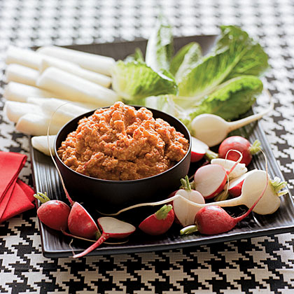 Red Pepper-Potato Dip with Crudites