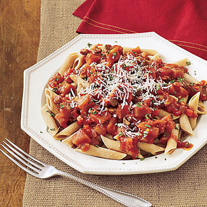 Eggplant gives this slow-cooked tomato sauce a hearty and meaty texture as well as a boost of nutrients. Serve the tomato sauce over whole wheat noodles and top with a sprinkle of Parmesan cheese.Whole-Wheat Penne with Eggplant-Tomato Sauce Recipe