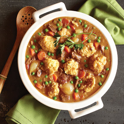 Beef Stew RecipePerfect for a chilly night, this hearty stew is packed with tender beef cubes, vegetables and plump dumplings.