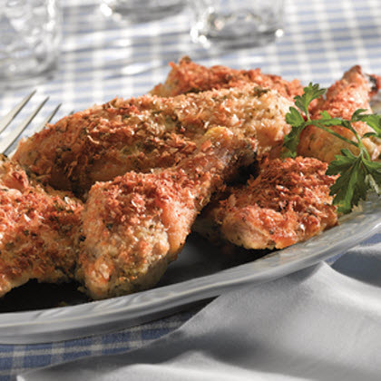 Crispy Italian Baked Chicken RecipeA succulent chicken coated with a delicious mixture of parmesan, parsley, and potato flakes and baked until perfectly crisp.
