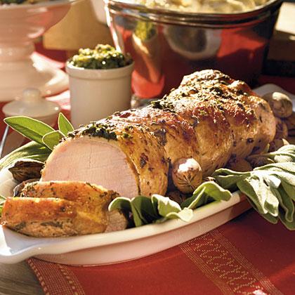 Roast Pork with Sage and Pecan Pesto