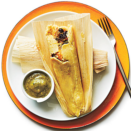 Black Bean and Sweet Potato Tamales with Tomatillo SauceRecipe