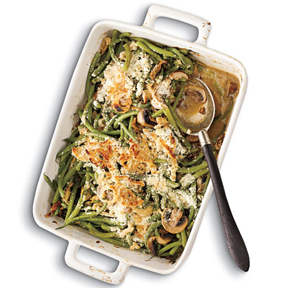 Green Bean Casserole with Madeira Mushrooms RecipeHere's a deliciously updated version of the classic, with fresh green beans and wine-infused mushrooms. We just had to keep the fried onion topping, which is arguably the best part.