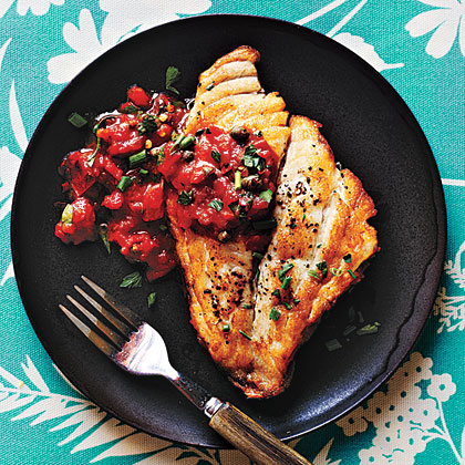 Pan Roasted Fish With Mediterranean Tomato Sauce Recipe Myrecipes