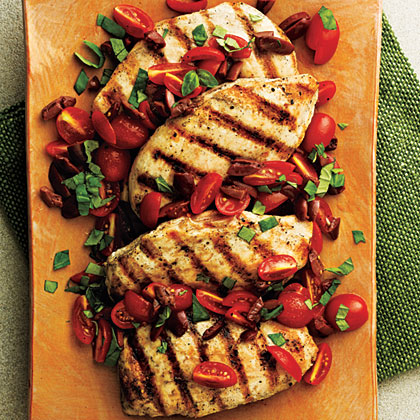 <p>Pan-Seared Chicken with Tomato-Olive Relish</p>