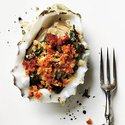 Roasted Oysters with Pancetta and BreadcrumbsRecipe