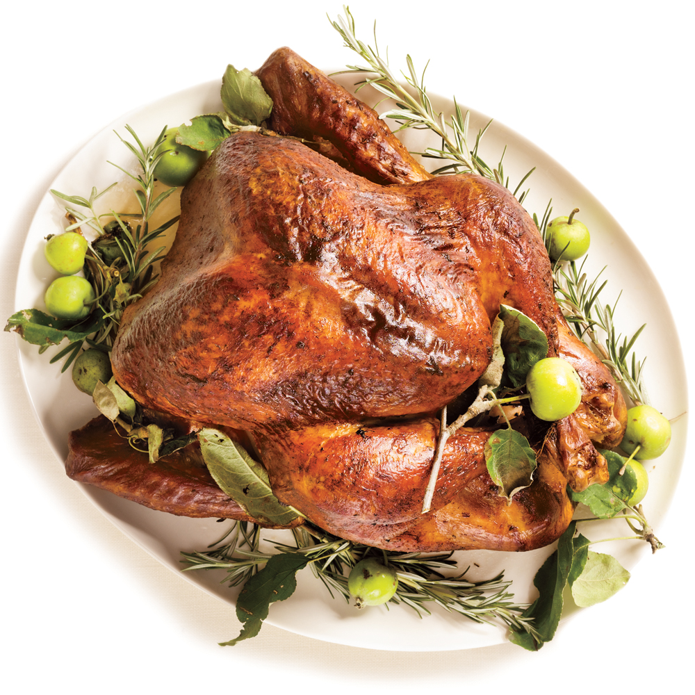 Roasted Turkey with Rosemary-Garlic Butter Rub and Pan Gravy