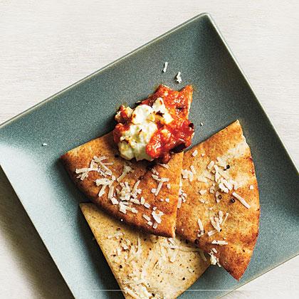 Toasted Parmesan Pita Crisps Recipe