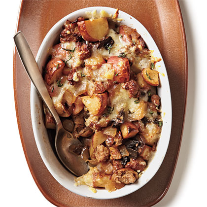Turkey Sausage, Mushroom, and Potato Gratin