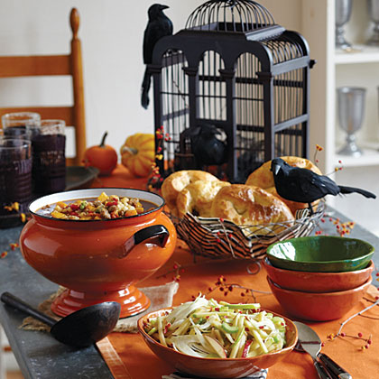 Halloween Open House MenuAutumn nights are ideal for entertaining, and this easy supper is a divine way to revive after a night of trick-or-treating. Kids can sort candy and relive the fun while the adults relax and visit.