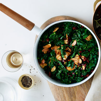 <p>Sautéed Kale with Chorizo and Crispy Garlic</p>