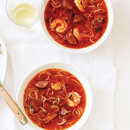 Chorizo and Shrimp with Toasted Pasta Recipe