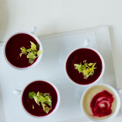 <p>Duo of Celeriac and Beet Soup</p>