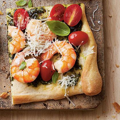 Shrimp-Pesto Pizza Recipe