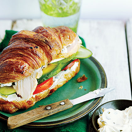 Turkey Croissant Sandwiches RecipeSunset reader James C. Hayes of Ridgecrest, California, makes ordinary turkey sandwiches spectacular with fresh vegetables and buttery croissants. Leftover roast turkey has the most flavor, but you can use sliced deli meat instead.