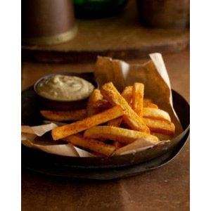 Paprika Chips with Roasted Garlic-Cumin Aiolipeanut oil